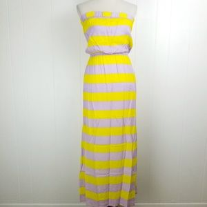 Splendid Magnolia Purple Yellow Stripe Maxi Dress